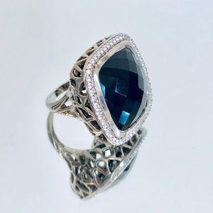 Sterling Silver 20MM Black Onyx Cushion Ring